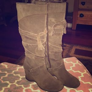 Brown leather, lacing detail wedge boots, not worn